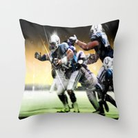 nfl Throw Pillows featuring American Football by Gilles Rathé