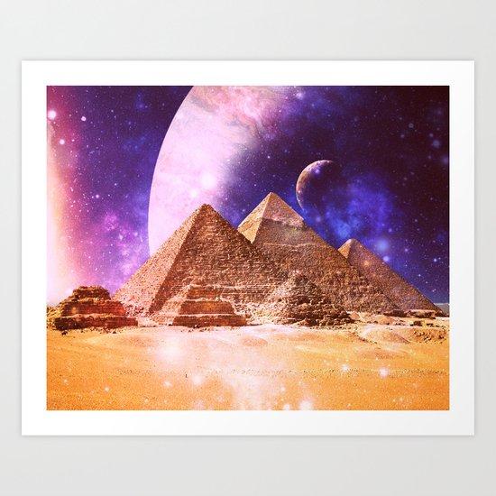 Galaxy Pyramids Art Print