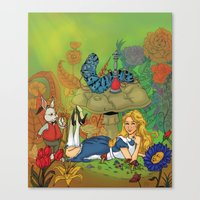alice in wonderland Canvas Prints featuring Wonderland by joanniegelinas