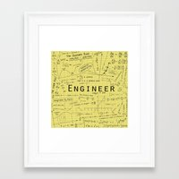engineer Framed Art Prints featuring Yellow - Engineer by Be Raza
