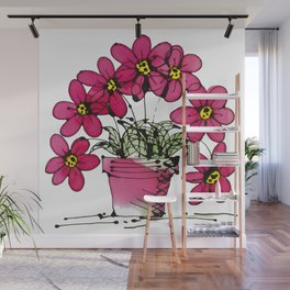 Seven Flowers (Pink): gorgeously simple original art, vibrant flowers in a pot Wall Mural