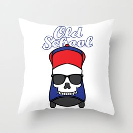 """""""Old School"""" tee design. Cool skull that will make your day!Makes an awesome gift to your family too Throw Pillow"""