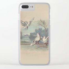 Vintage White Forest Birds Clear iPhone Case