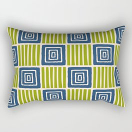 Retro Mid Century Modern Check Pattern 754 Olive and Blue Rectangular Pillow