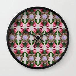 Tulip_Sugerbish_Protea repeat pattern Wall Clock