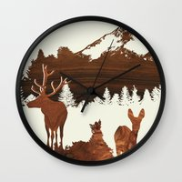 woodland Wall Clocks featuring woodland by jefdesigns
