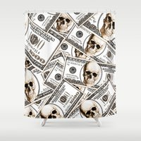 hiphop Shower Curtains featuring Thousand dollars by Burcu Korkmazyurek