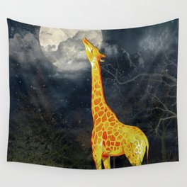 What the moon tastes like? (Giraffe and Moon) Wall Tapestry