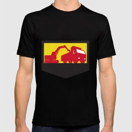 Mechanical Digger Loading Dump Truck Shield Retro T-shirt