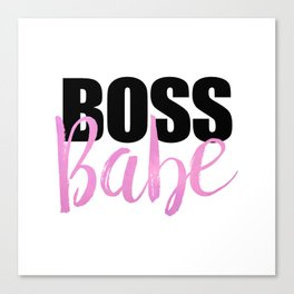 Boss Babe   Black & Pink Canvas Print