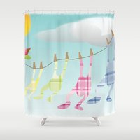 onesie Shower Curtains featuring Clothesline by Gloria Larravide
