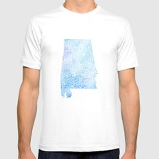 Typographic Alabama - Blue Watercolor map art White MEDIUM Mens Fitted Tee