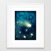 fireflies Framed Art Prints featuring Fireflies by Morgan Ofsharick - meoillustration