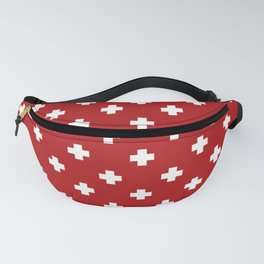 White Swiss Cross Pattern on Red background Fanny Pack