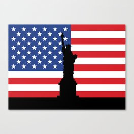 United states of America flag and Statue of Liberty in New York Canvas Print