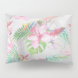 Pink lilac green watercolor hand painted tropical floral flamingos Pillow Sham