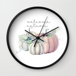 welcome autumn orange pumpkin Wall Clock