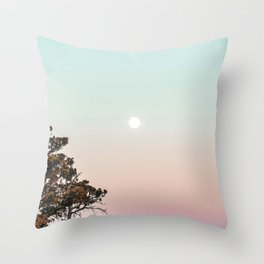 Rainbow Color Sunset // Incredible Clear Sky Photograph Through the Forest Trees Throw Pillow