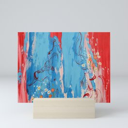 Red and Blue Abstract Flower Field Painting by Jodi Tomer. Mini Art Print
