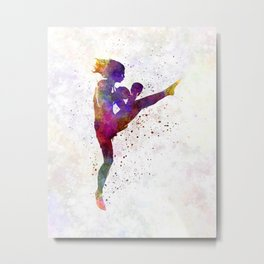 Woman boxer boxing kickboxing silhouette isolated 01 Metal Print