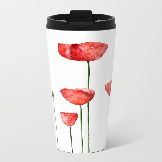 Mouse and poppies - Watercolor illustration Animal + Poppy Flower #Society6 Metal Travel Mug