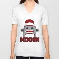 minions V-neck T-shirts featuring Misha's Minions by Evie Bird