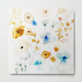 Abstract Watercolor Floral Metal Print