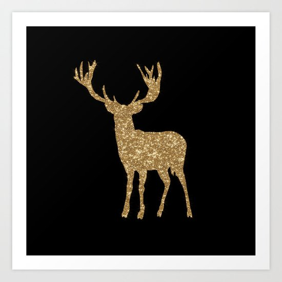 Sparkling golden deer - Wild Animal Animals on #Society6 Art Print