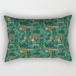 Foxes Playing in the Emerald Forest Rectangular Pillow