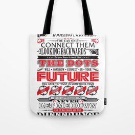 "Steve Jobs ""Connecting the dots"" quote print Tote Bag"
