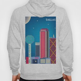 Dallas, Texas - Skyline Illustration by Loose Petals Hoody