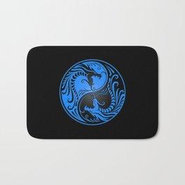 Blue and Black Yin Yang Dragons Bath Mat
