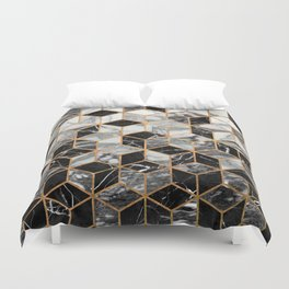 Marble Cubes - Black and White Duvet Cover