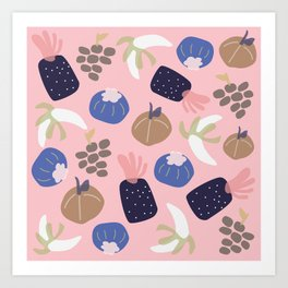 Cute pattern of fruits and vegetables Art Print