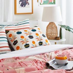 pink, orange and blue bedding