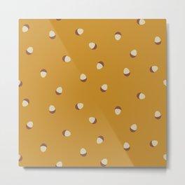 Autumn Time - acorns on mustard yellow background Metal Print