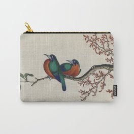 Chinese 18th century painting - 2 birds on a branch Carry-All Pouch