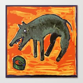 DOG EATING Canvas Print