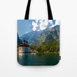 Outdoors, Church, Alps Mountains, Koenigssee Lake Tote Bag