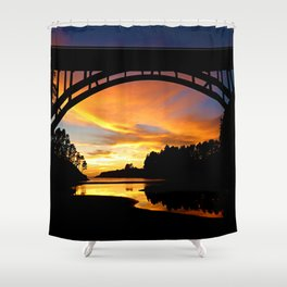 Sunset at Frederick W. Panhorst Bridge in Russian Gulch State Park Shower Curtain
