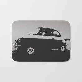 Fiat 500 classic, Gray on Black Bath Mat