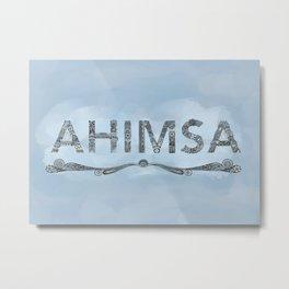 Blue Ahimsa Metal Print