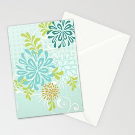 Bold Graphic Mod Mum Modern Chrysanthemum Floral Flower Aqua Blue Stationery Cards