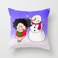 snowman Throw Pillows featuring Snowman by Afro Pig
