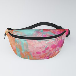 Paint Splatter Turquoise Orange And Pink Fanny Pack