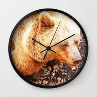 bruno mars Wall Clocks featuring BRUNO by Ylenia Pizzetti