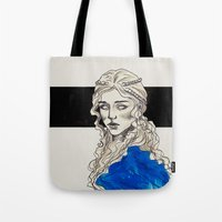 mother of dragons Tote Bags featuring Mother Of Dragons by Fatma Sahem