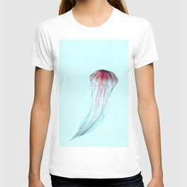 Pink Jellyfish on Aqua T-shirt