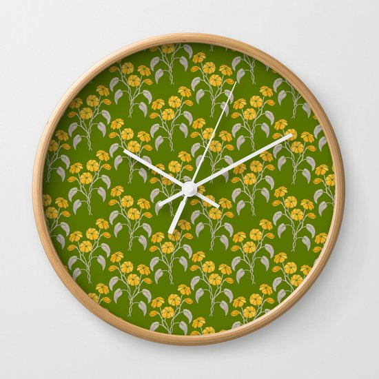 Flowers Green Pattern Wall Clock