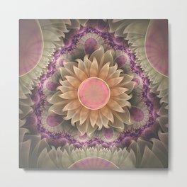 Pastel Pearl Lotus Garden of Fractal Dahlia Flowers Metal Print